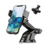 Phone Holder for Car, 360°Rotatable Car Phone Mount for Windshield Dashboard Air Vent, Universal for All Cell Phone and More Devices with Suction Cup and Clip
