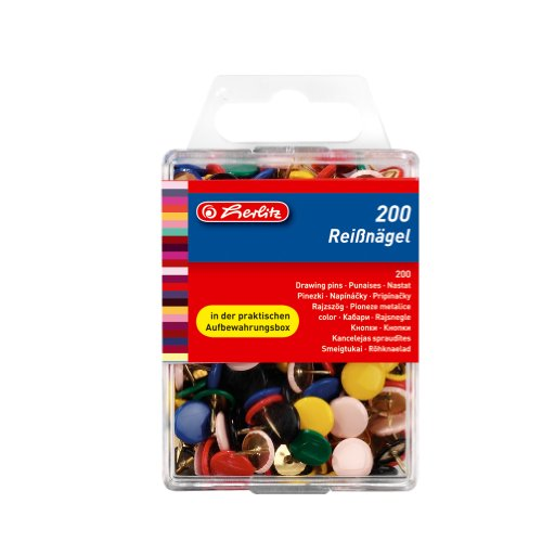 Herlitz Reißnagel rund, kunststoffummanteltes Metall, 200 Stück in Hängebox, farbig sortiert