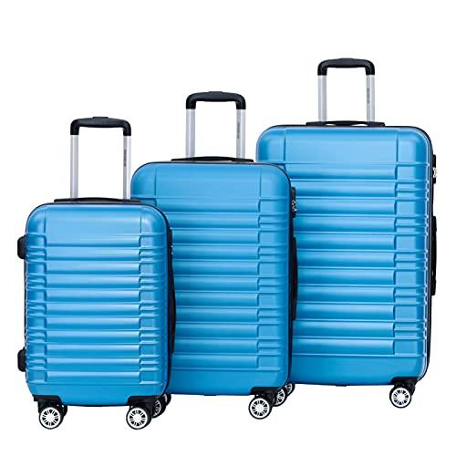 BEIBYE BEIBYE Zwillingsrollen Reisekoffer Koffer Trolleys Hartschale M-L-XL-Set (Turquoise, Set)