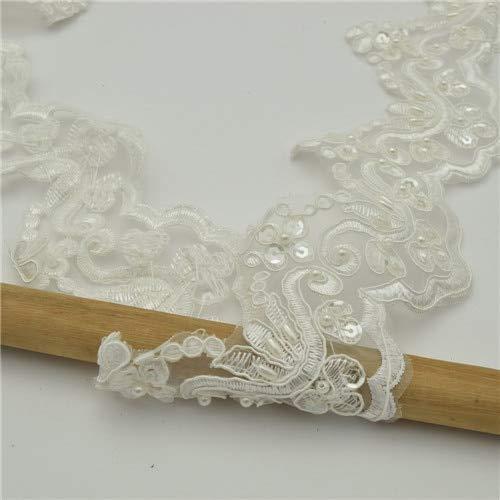 Hochzeitskleid, Spitze, Organza, Perlen, Pailletten für Schleier, Hochzeitskleider, Kleidung, 9 m, 5 Farben As Shown in the Picture gebrochenes weiß