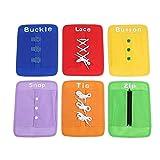 Zwindy Juguete de Habilidades básicas, 6pcs/Set Kit de Tablero Papel Aprendizaje, Tablero Actividades de Habilidades básicas para Corbata de botón con Hebilla, para Regalos Vacaciones para niños