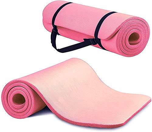 Esterilla de yoga antideslizante de 15 mm para pilates, entrenamiento, fitness, espuma NBR de alta densidad con correa de transporte, antideslizante, respetuosa con el medio ambiente, color rosa
