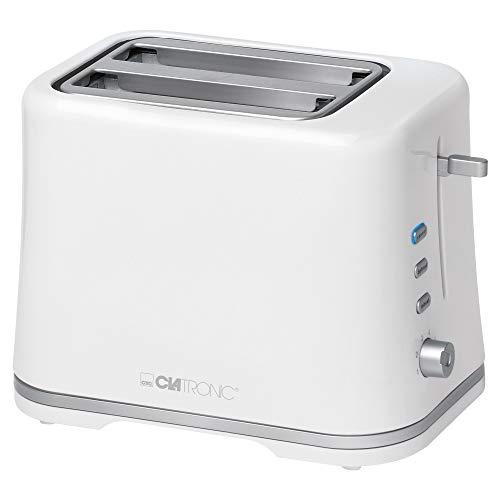 Clatronic TA 3554 Kompakter 2-Scheiben Toaster, Brötchenaufsatz (abnehmbar), Aufwärm, Auftau Schnellstoppfunktion, stufenlos einstellbarer Bräunungsgrad, Krümelschublade, weiß-Silber