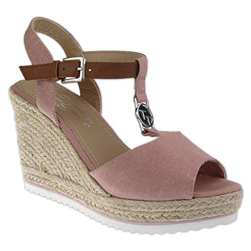 TOM TAILOR 8090214 Damen Riemchen Sandalette Keilpumps Wedges Gr.37-43 rosa EUR 40