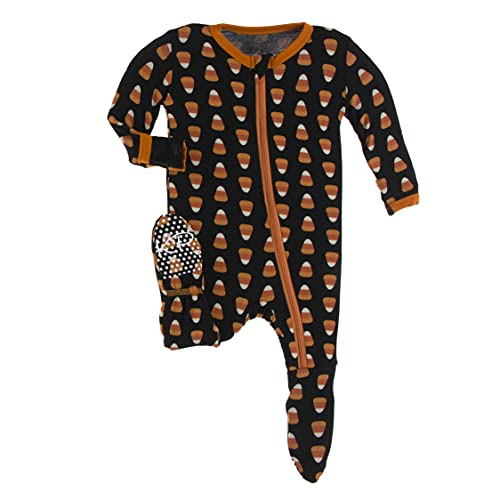 KicKee Pants Halloween Footie with Zipper in Spooky Fun Prints, One-Piece Boy or Girl Baby Clothes, Super Comfortable Sleepwear for Babies and Kids (Midnight Candy Corn - 6-9 Months)