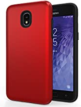 SENON Galaxy J3 2018 Case, Slim-fit Shockproof Anti-Scratch Anti-Fingerprint Protective Cover for Samsung Galaxy 3V J3 V 3rd Gen/Express Prime 3/J3 Star/J3 Achieve/Amp Prime 3,Red