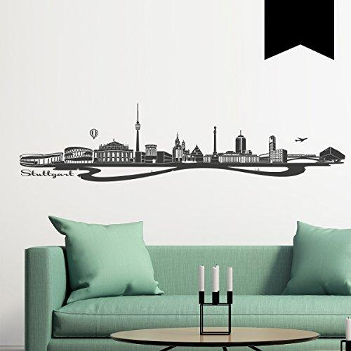 WANDKINGS Wandtattoo - Skyline Stuttgart - 100 x 24 cm - Schwarz - Wähle aus 6 Größen & 35 Farben