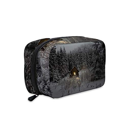 Cabin Pine Trees Wilderness Nature Makeup Bag Zipper Pouch Travel Toiletry Bag Cosmetic Accessories Organizer Purse Large Portable for Women Girls