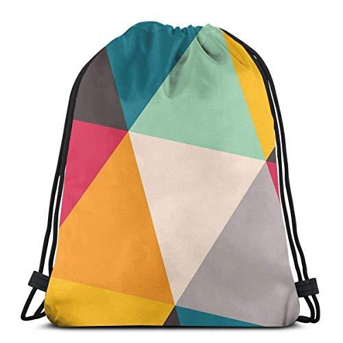 OPLKJ Kordelzug Rucksack Tasche, Dreiecke Sporttasche Tragbare Sackpack Aufbewahrungstasche für Camping Wandern Schwimmen Einkaufen Wandern Travel Beach