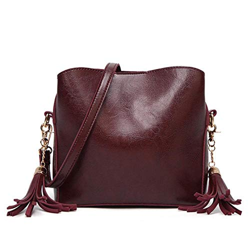 KIU Womens handbag Casual Messenger Bags Leather shoulder bag,Wine