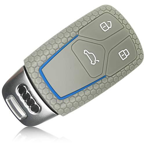 FoilsAndMore Funda Compatible con Audi Llave de Coche con 3 Botones SmartKey (sólo Keyless-Go) - Silicona Cubierta Protectora Cover Caso Clave in Gri Azul