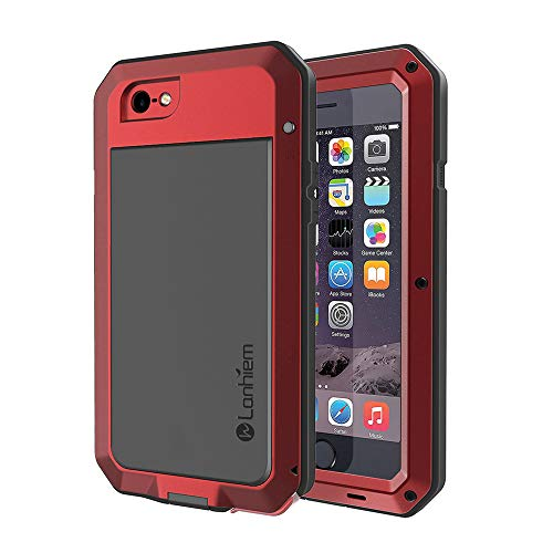 Lanhiem iPhone 6 Plus / 6s Plus Case, Heavy Duty Shockproof [Tough Armour] Metal Case with Built-in Screen Protector, 360 Full Body Protective Cover, Dust Proof Design -Red