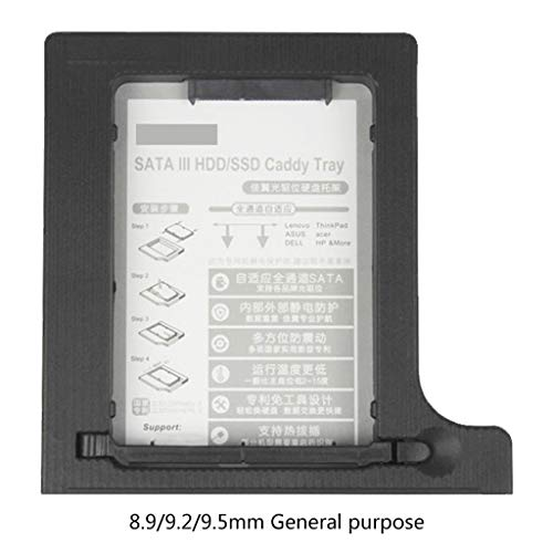BIlinli Universal 12,7 mm 8,9/9,2/9,5 mm Festplattenadapter SSD HDD SATA HDD Caddy Bay Stoßgepufferter Adapter für 9,5 mm Höhe DVDROM Optical UltraBay Shockproof Proof