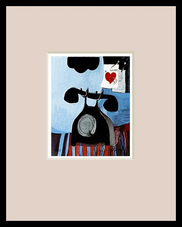 Germanposters Rosina Wachtmeister Telefon (Rose) Poster Bild Kunstdruck im Alu Rahmen in schwarz 30x24cm