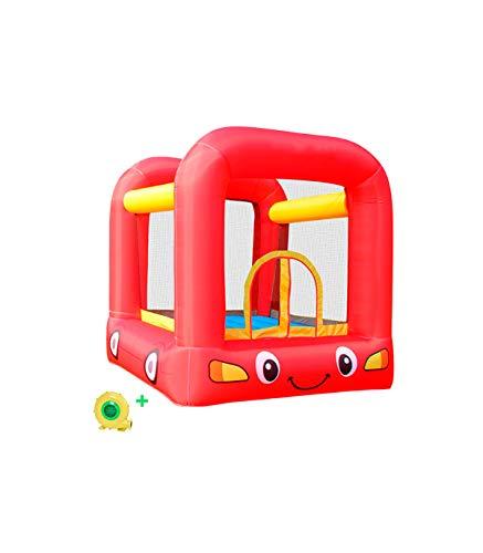 Grupo K-2 Castillo Hinchable Infantil con Red Protectora en Zona de Salto e Hinchador | Casa Castillo Inflable de Bus Rojo para Niños | De 280x215x195 Cm | para Jardín, Patio, Fiesta Infantil