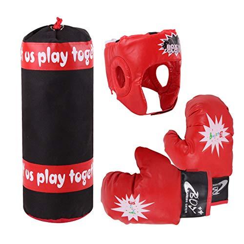 SANGDA Kinder Box-Set, Boxsack-Set, schwere Boxsack, Boxhandschuhe, Trainingshandschuhe, Kopfbedeckung, Sparring, Helm für Kinder, Kickboxen, Muay Thai(4 Stück)