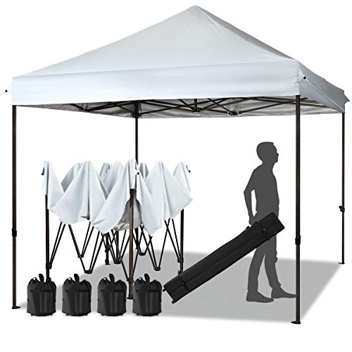 MEWAY 10ft Patio Awning Garden Shade Commercial Ez Pop Up Canopy Tent Instant Canopy Party Tent Sun Shelter with Wheeled Bag,x4 Canopy Sandbags,x4 Tent Stakes (White)