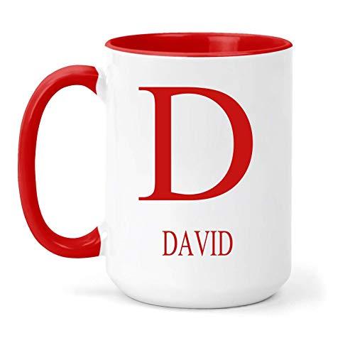 Taza con el nombre de David y la inicial – regalo en...