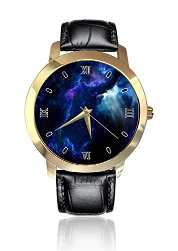 Blu scuro Cosmos Deep Space orologio da polso con quadrante dorato, unisex, cinturino in pelle, analogico al quarzo, per uomo e donna