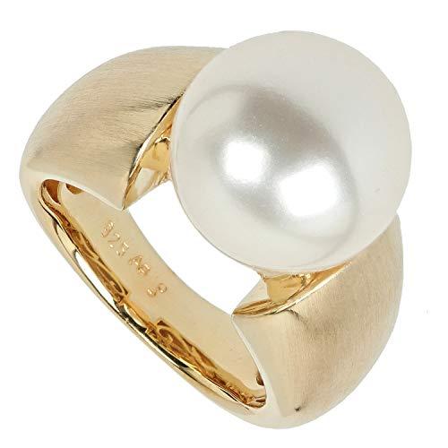 Pfeffinger Damen Ring aus Silber 925 goldplattiert Südsee Muschelkern-Perle 12mm 50 (15.9)