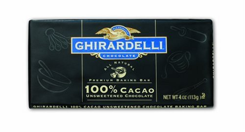Ghirardelli Chocolate 100% Cacao Unsweetened Baking Bar, 4-Ounce Bars (Pack of 12)