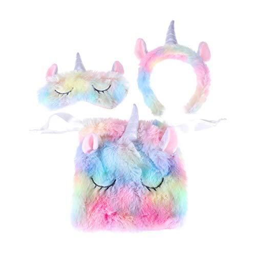 Lurrose - Juego de 3 diademas de unicornio y antifaz para dormir con bolsa de almacenamiento
