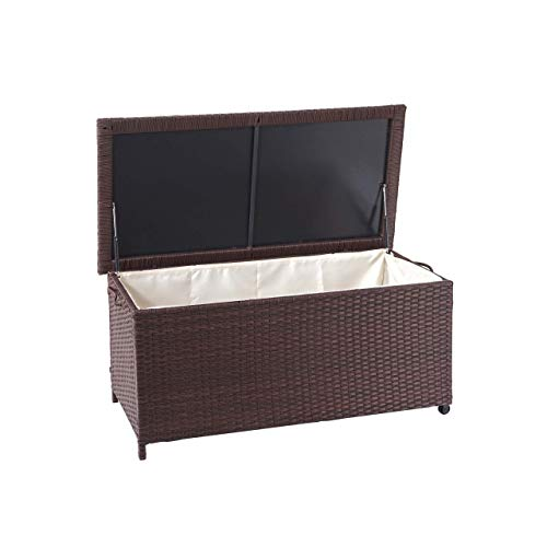 Mendler Poly-Rattan Kissenbox HWC-D88, Gartentruhe Auflagenbox Truhe ~ Premium braun, 51x100x50cm 170l