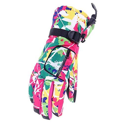 Barrageon Gants de Ski Femme, Gant Protègent du Vent, Imperméable et Thermiques, Coloré Chaud Sports de Plein Air Gants d'Hiver pour Vélo Moto Snowboard Snowmobile Boules de Neige - Rose