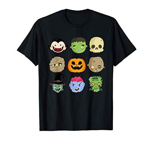 9 Monstruos Emoji Divertido Disfraz Halloween Hombre Mujer Camiseta
