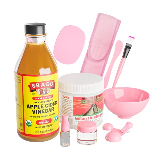 Face Masks Skincare All in one set that includes Aztec Secret Indian Healing Clay Mask (Bentonite Clay) Natural Clay, Bragg Apple Cider Vinegar and Silicone Mixing Set with face mask brush