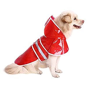 HDE Dog Raincoat – Clear Waterproof Rain Coat with Hood and Reflective Safety Strip – Adjustable Pet Raincoats for Small, Medium and Large Dogs – Extra Lightweight, Easy to Carry Puppy Rain Jacket