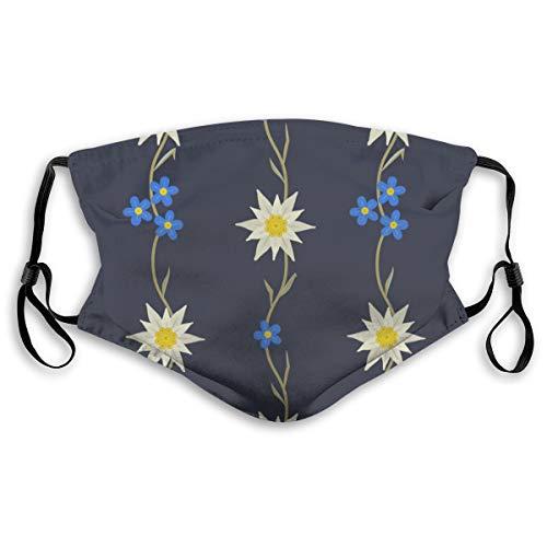 Cubierta facial protectora anti-polvo lavable para la boca,Edelweiss Floral Dibujado A Mano Planta Plateada De Alt,A prueba de viento reutilizable para ciclismo de esquí al aire libre Camping Running