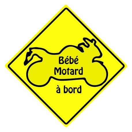 Bébé motard à bord carré jaune autocollant sticker adhesif logo 3-3 - Taille : 8 cm