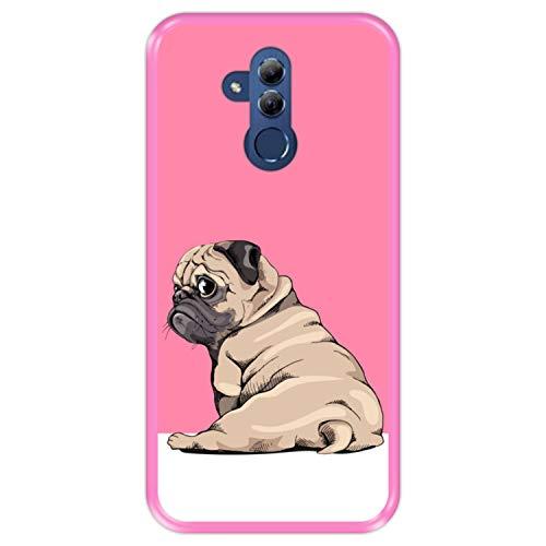 Funda Rosa para [ Huawei Mate 20 Lite ] diseño [ Cachorros Beige Pug posando 3 ] Carcasa Silicona Flexible TPU