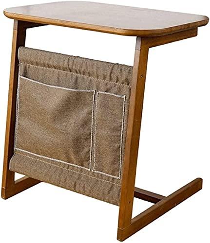 QIANMEI Mesa Auxiliar mesas Escritorio de pie portátil de pie | Mesa de Snack de Mesa de sofá en Forma de C para Trabajar, Leer, Escribir, Dibujo, Juegos (Color : Brown)