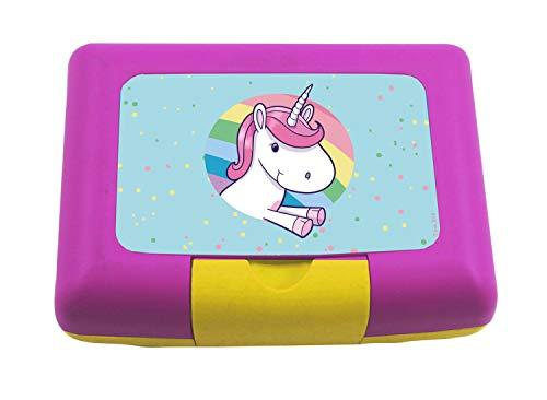 P:os 30762 - Brotdose für Mädchen mit Trenner im farbenfrohen Einhorn Design, ca. 17 x 12,5 x 6,5 cm groß, aus Kunststoff, bpa- und phthalatfrei