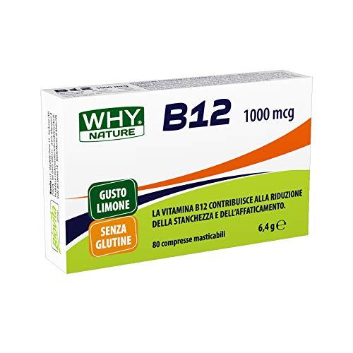 WHY NATURE Vitamina B12 da 1000mcg. Formato da 80 compresse masticabili, gusto Limone.