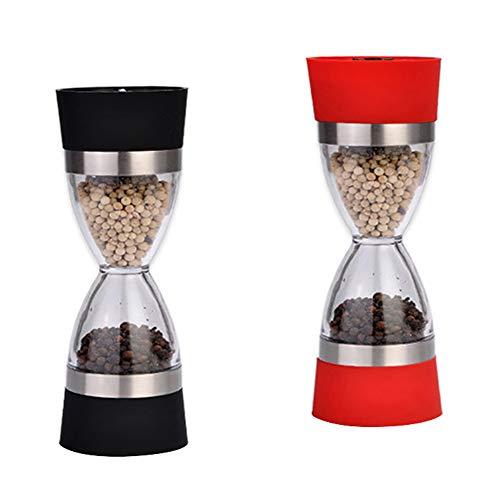 FSGD Dubbele kop peper molen, dual-gebruik handmatige slijpen fles peper gemalen zwarte peper poeder zoutmolen