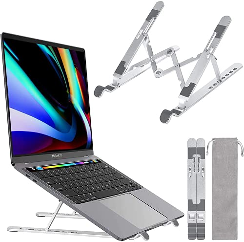 "Laptop Ständer 7-Stufe Aluminium Laptop Stand, Tragbar Höhenverstellbarer Belüfteter Notebook Ständer Kompatibel mit MacBook Pro Air, Lenovo, Dell, 10-14 "" Laptops Tablet"