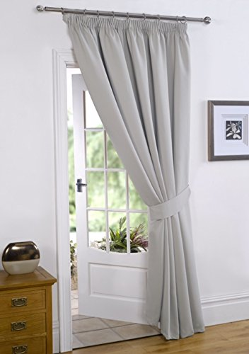 viceroy bedding Silver Grey 66' Width x 84' Drop (Only 1 Panel), Supersoft Thermal BLACKOUT PENCIL PLEAT/TAPE TOP DOOR CURTAIN, Winter Warm but Summer Cool