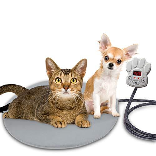 BACKTURE Manta Eléctrica para Perros y Gatos, Almohadilla Térmica Mascotas Temperatura 7 Niveles con Calefacción Constante Inteligente, Cojín De Calentamiento con 2 Cubiertas (40 * 40cm)