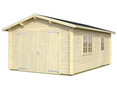 Palmako Blockbohlen-Garage Roger 19,0 44 mm natur mit Holztor