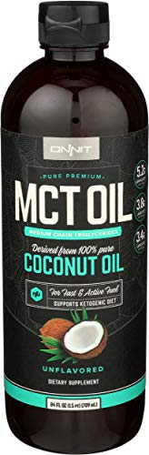 Roll over image to zoom in Onnit MCT Oil - Pure MCT Coconut Oil, Ketogenic Diet and Paleo Optimized with C8, C10, Lauric Acid - Perfect for Coffee, Shakes, and Cooking (Flavorless - 24oz)