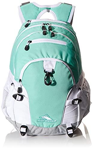 High Sierra Loop Backpack, School, Travel, or Work Bookbag with tablet sleeve, Aquamarine/White/Ash, One Size