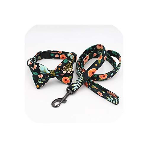 Arco del Collar de Plomo Corbata a Juego Perro Floral para 5size para Elegir, Mejores Regalos del Perro del Collar de la Boda para su Mascota, un Conjunto Completo, XS