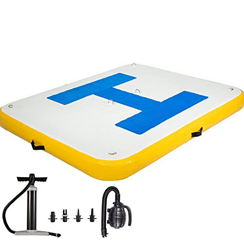 Happybuy Inflatable Floating Dock 6 x 5 ft, Inflatable Dock Platform with Electric Air Pump, Inflatable Swim Platform 6 Inch Thick, Floating Dock 3-5 People, Floating Platform for Pool Beach Ocean
