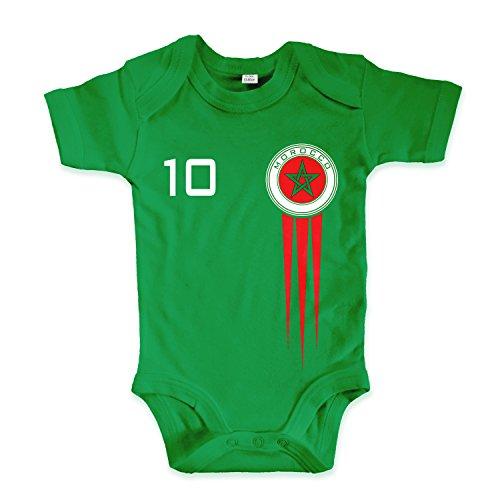 net-shirts Organic Baby Body mit Morocco Marokko Trikot Aufdruck Fußball Fan WM EM Strampler - Spielernummer wählbar, Größe 03-06 Monate-Spielernummer 10