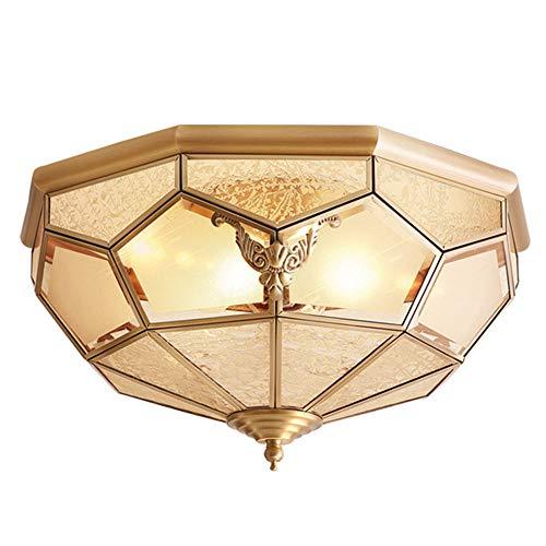 Retro ronde plafondlamp woonkamer plafondlamp landelijke stijl keuken koper interieur design plafondverlichting kroonluchter plafondverlichting lamp glazen lampenkap lamp antiek slaapkamer, E27 goud