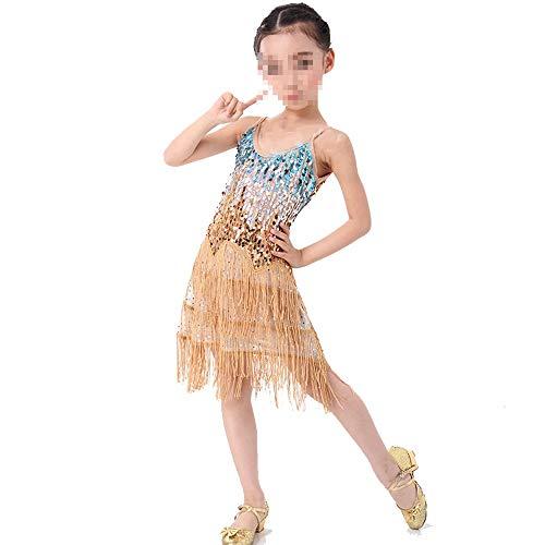 Mädchen Latin Dance Dress Kinder Kinder Pailletten Fransen Bühnen Performance Wettbewerb Ballroom Dance Kostüm Latin-Tanzkleid für Mädchen (Farbe : Gold, Größe : L)