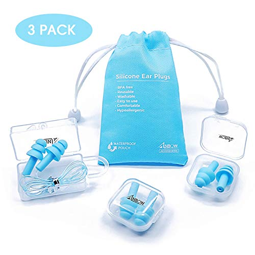 Reusable Silicone Ear Plugs - ANBOW Waterproof Noise...